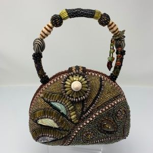 Beaded Evening Hand Bag Seashells Stones Beads